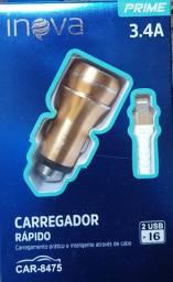 7446 - Carregador Veicular para Iphone 2 Entradas USB 3.4A CAR-G8475 Inova