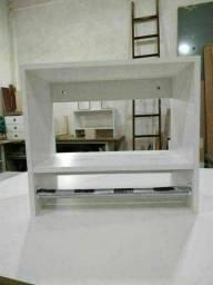 Cabideiro No Cho Arara Parede MDF Branco Loja Quarto Lavanderia Casa Vestiário Closet
