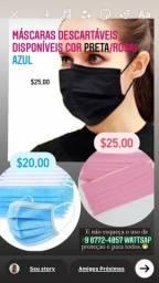 Título do anúncio: Máscaras Descartáveis cores Preta Rosa e AZUl