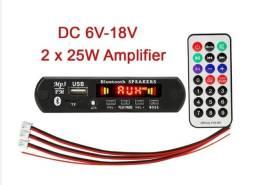 Mp3 Placa amplificador 2x25 w saida ,dc: 6v-18v,Aux e rádio FM, bluetooth 5.0