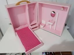 Maleta closet, quarto e banheiro Barbie 3x no cartão de crédito