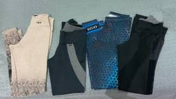 Calças leggings para academia, tops e conjunto