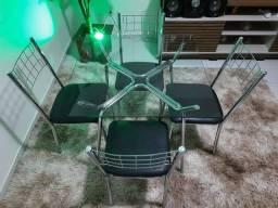 Mesa 04 cadeiras cromada tampo de vidro nova
