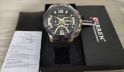 Relógio De Luxo Curren Original À Prova D'água Preto/Dourado