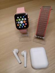 Relógio Smarwatch X6 Rosa Faz e Recebe Ligação + Fone I12 + Pulseira Nylon
