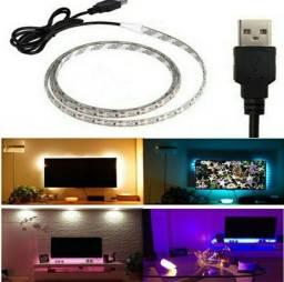Título do anúncio: Fita Led RGB 1M USB (COLORIDA) + Controle Remoto (Luz Decorativa: Tv Espelho Parede)
