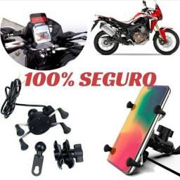 Suporte De Celular Com Carregador Universal Para Moto<br>