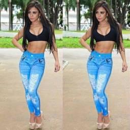 Calça legging jeans fake destroyed suplex feminina