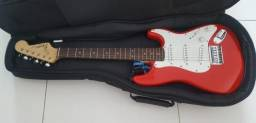 Guitarra Fender Squier Mini com capa e Violão Gianinni