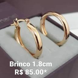 Brinco Argola Pequena Rommanel Folheado à Ouro 18k