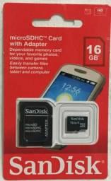Cartão De Memória Micro Sd 16GB Sandisk Classe 4 Novo na Caixa Lacrada