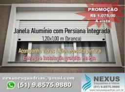 Esquadrias de Alumínio - Janela com Persiana Integrada 1,20x1,00 m (pronta entrega)