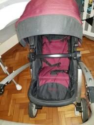 Carrinho de Bebê Dzieco Maly - Preto/ Vinho - 4 meses de uso