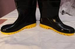 Bota Galocha Impermeável Borracha Pvc Preta Solado Amarelo - para motoboy