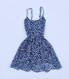 Vestido estampado oncinha azul curto @brchgrls