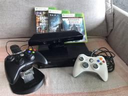 X-Box 360 com 3 jogos e controles