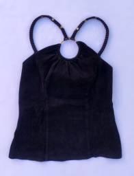 Blusa Preta frente única camurça/veludo (Thamara Capelão) @brchgrls