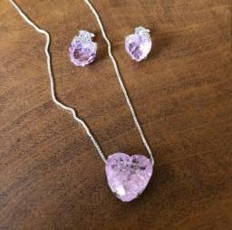 Conjunto de Prata, Coração Rosa Claro Fusion