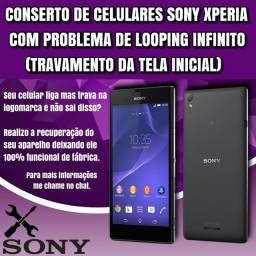 Conserto de celulares Sony Xperia com travamento da tela inicial