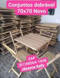 Conjuntos dobrável NOVO mesa 70x70 mais 4 cadeiras dobrável ZAP *