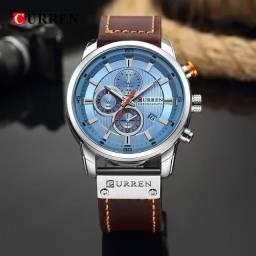 Relógio Curren com cronógrafo, caixa em aço inoxidável e pulseira de couroPU