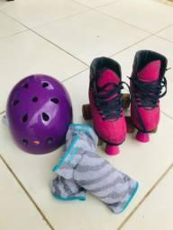 Patins - Semi Profissional , Patins boots c/ leds nas rodinhas,Capacete, Joelheira