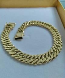 Título do anúncio: Pulseira elo grumet duplo em ouro 18k