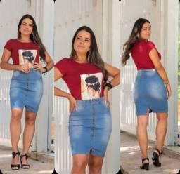 saia midi jeans feminino cintura alta