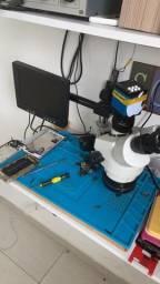 Microscópio trinocular completo