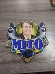 Plaquinha para coleiro temática Mito Bolsonaro