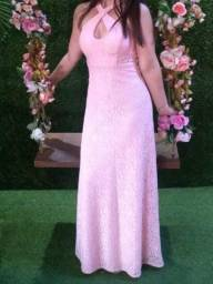 Vestido Longo Rosa Claro com Brilho