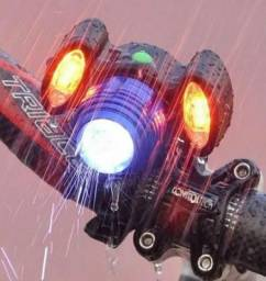 Farol Lanterna Bike 3 Focos Led Com Zoom Recarregável T6