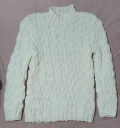 Blusão de lã feito à mão, trabalhado, tam. P