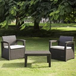 Conjunto de sofá 2 Lugares para Jardim/Área Externa Rattan -