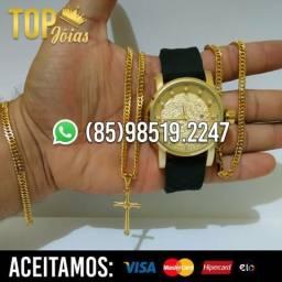 Kit Completo Cordão Pulseira e relógio Banhado á Ouro 18k Entrega Grátis