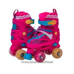 Patins Roller Skate azul e Rosa