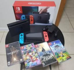 Nintendo Switch Neon c/ 4 jogos (Mídia física)