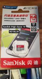 Cartão de memória 64gb classe 10 sandisk