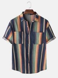 Camisa De Botão Listrada Arco-Íris Azul - Tamanho GG