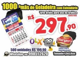 Imãs de Geladeira c/ Calendário a Partir *R$ 0,29 TB Panfleto 79,90, Cartões 49,90 (mil)