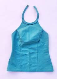 Blusa azul turquesa frente única couro (Thamara Capelão) @brchgrls