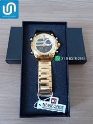 Título do anúncio: Relógio Masculino Digital Analógico Dourado Naviforce