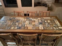 Mesa madeira demolição com 6 cadeiras