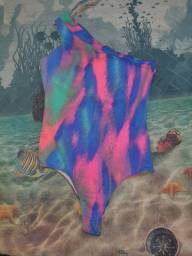 Título do anúncio: Body Estampado com rosa e azul um ombro M usado com bojo