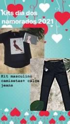 Kit masculino calça jeans + camiseta