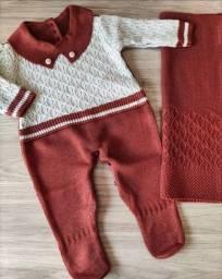 Saida de maternidade Tricot Bebê Menino Recem Nascido