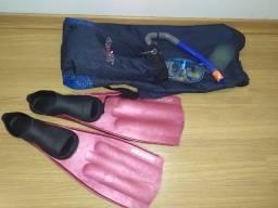 Título do anúncio: Kit Mergulho Nadadeira Seasub, Mascara e Snorkel Dua Seasub + Mochila