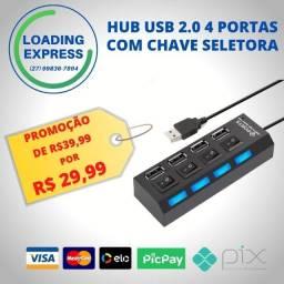 Hub Usb 2.0  4 Portas com Chave  Seletora