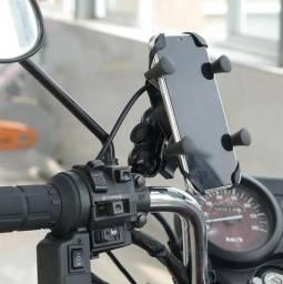 Suporte Celular Universal Moto Com Carregador Usb LT-8311 - Lehmox