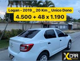 Título do anúncio: Logan 1.0 - 2019 _ Pouco Rodado 20 Km _ Único Dono _ Completo _ 2021 ok